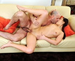 Old dad grab her pussy and she can�t..