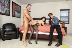 Cuckold watches as his wife makes..