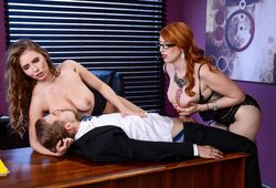 Lucky guy fucks two sexy secretaries..