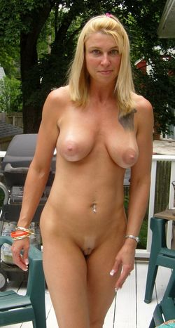 Slim forty years blonde completely naked