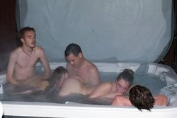 Amateur couples fuck in the jacuzzi at..