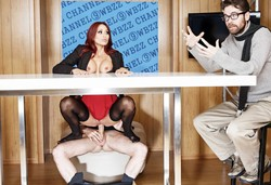 Stockinged redhead Monique Alexander..