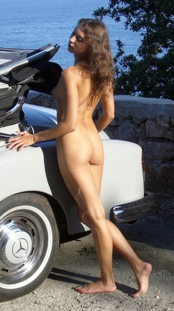 Russian cutie walking naked in center..