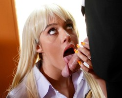 Blonde Athena in secretary uniform..