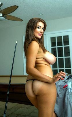 Horny MILF Vallory shooting pool with..